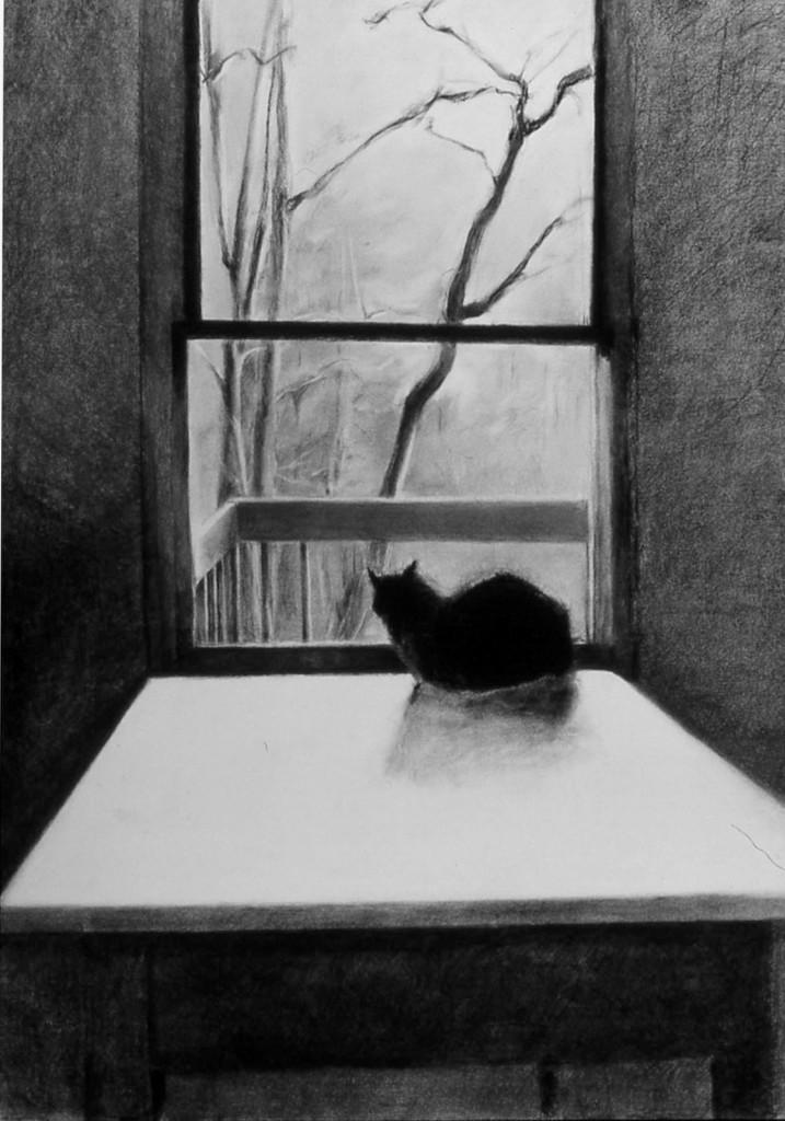 "6.Solitude, 2000, 40""x30, charcoal"